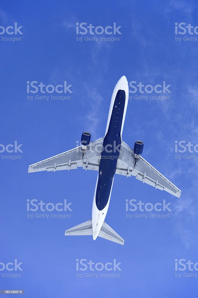 Jet Airplane Directly Above Against a Clear Blue Sky stock photo