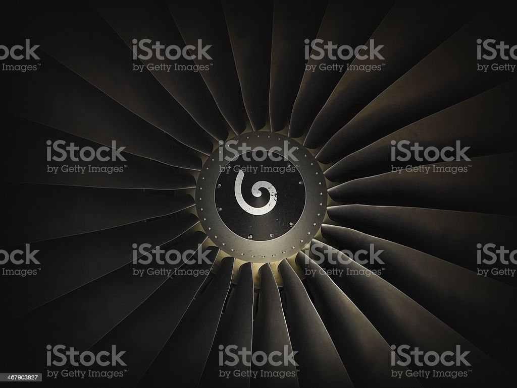 Jet airplane engine turbine stock photo