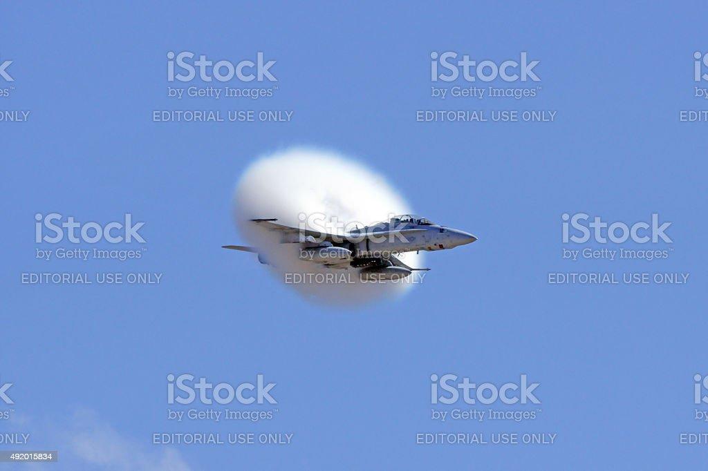 Jet Airplane F-18 Hornet breaking speed of sound stock photo