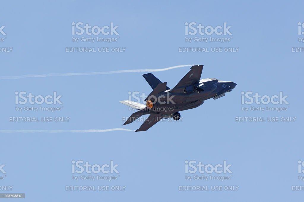 Jet Airplane F-35 Lightning stealth aircraft stock photo
