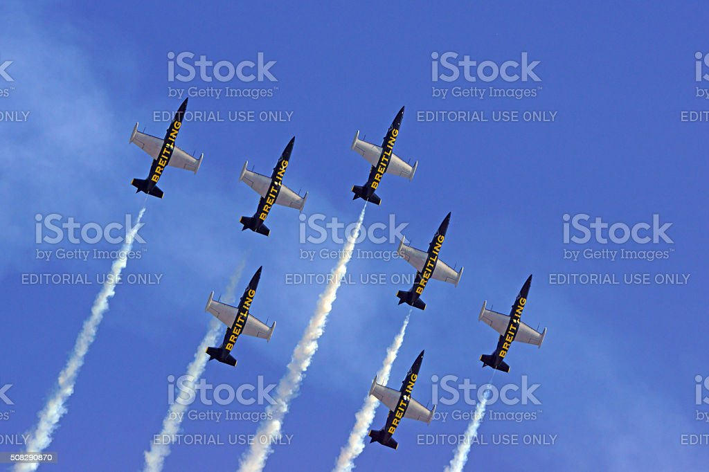 Jet airplane formation stock photo