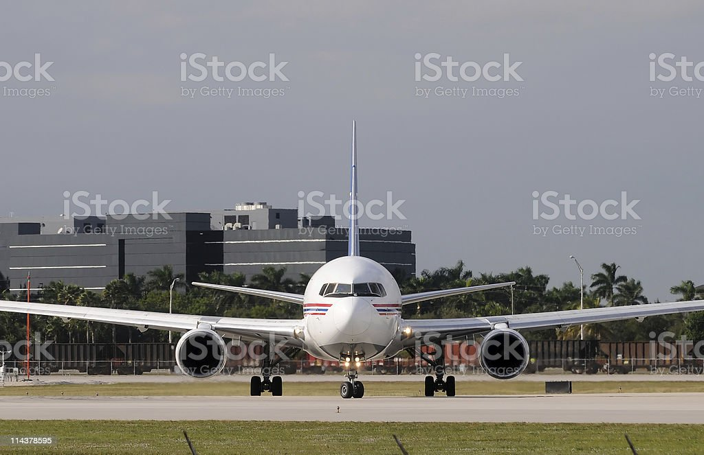 Jet airplane front view royalty-free stock photo