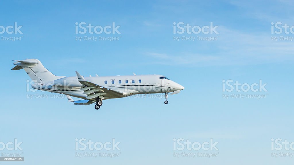 Jet airplane in the sky stock photo