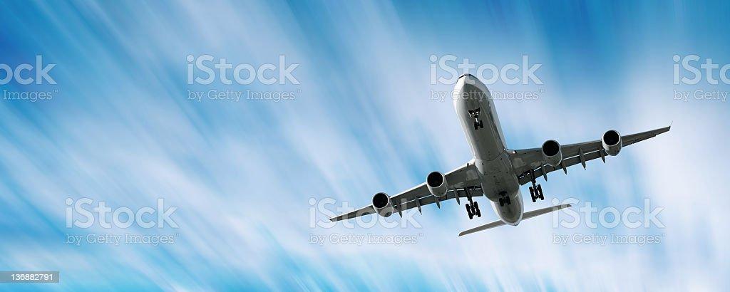 jet airplane landing in motion blur sky, panoramic frame