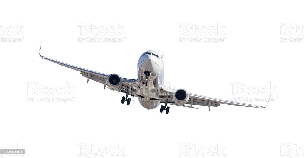 Jet Airplane Landing Isolated on White stock photo