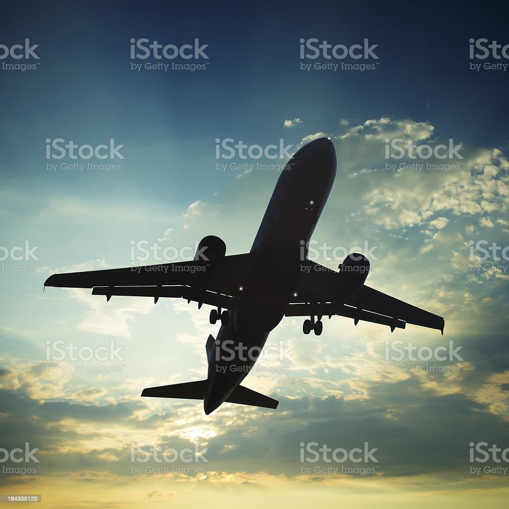 Jet airplane landing on a sunset royalty-free stock photo