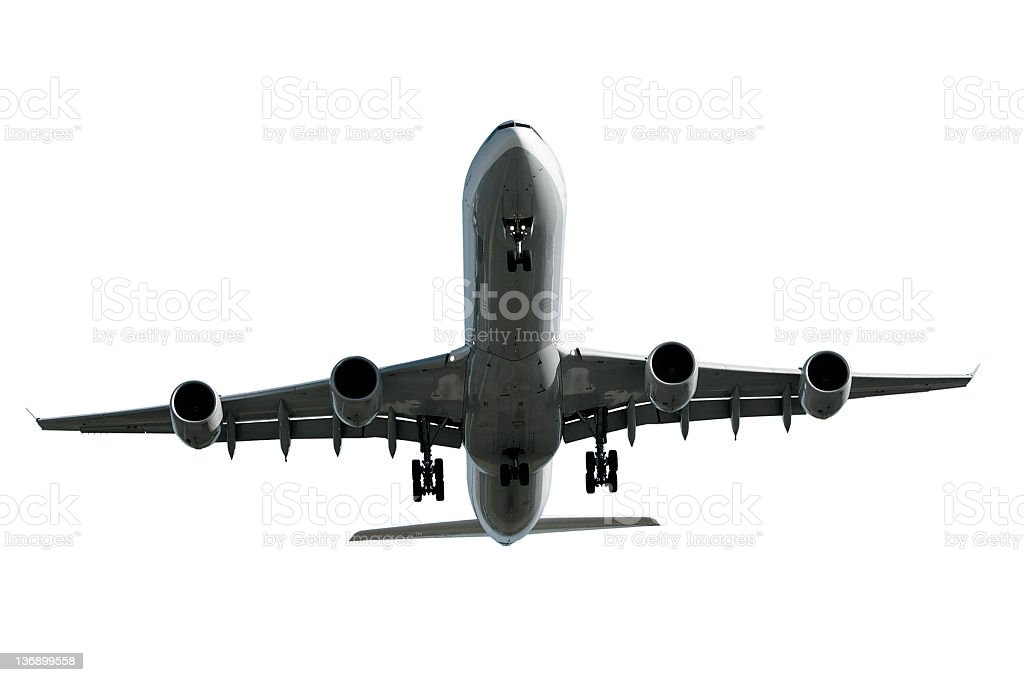 jet airplane landing on white background royalty-free stock photo
