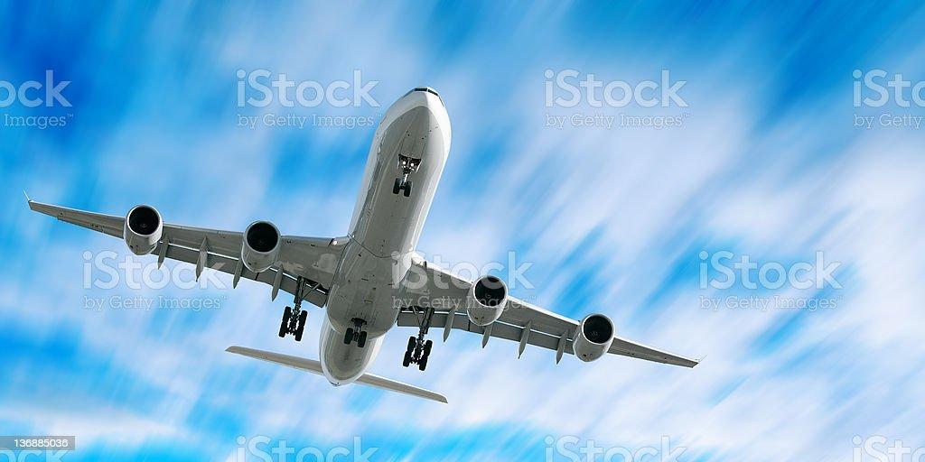 jet airplane landing royalty-free stock photo