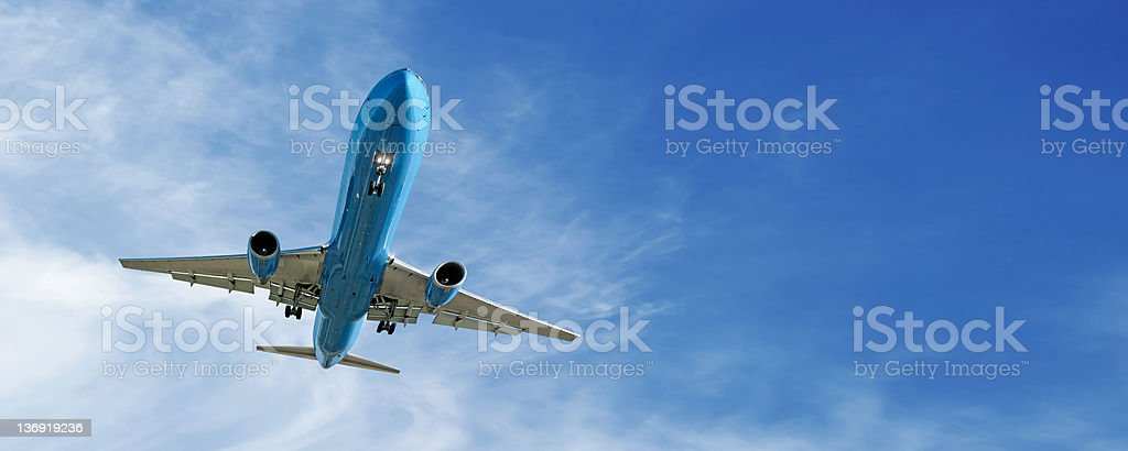 XL jet airplane landing royalty-free stock photo