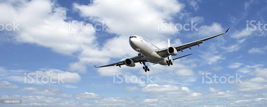 XL jet airplane landing stock photo