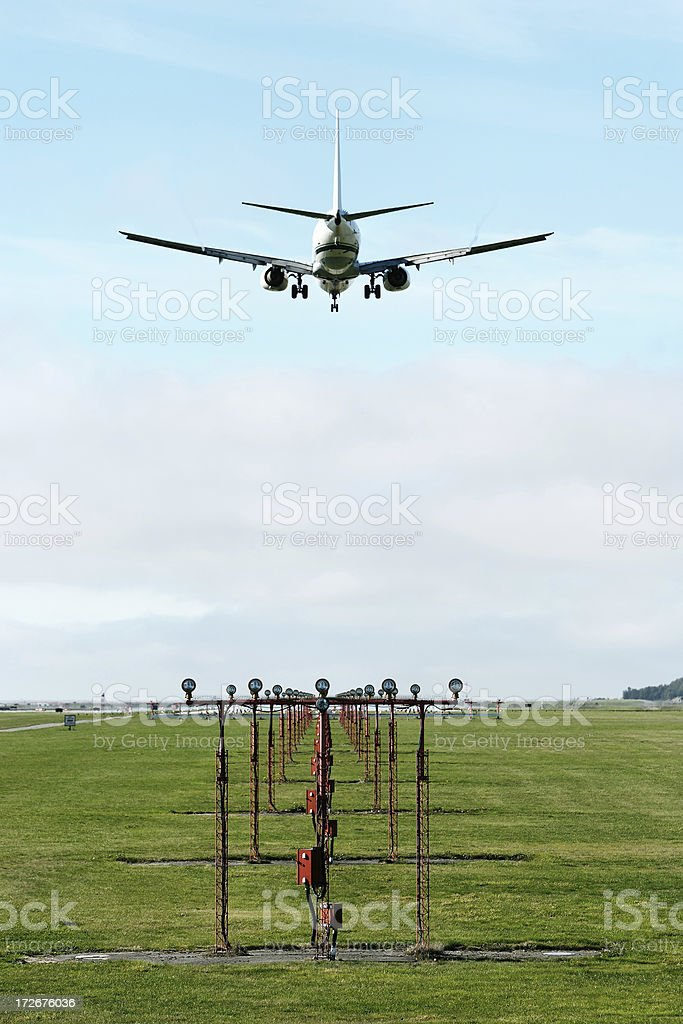 XL jet airplane landing royalty-free stock photo
