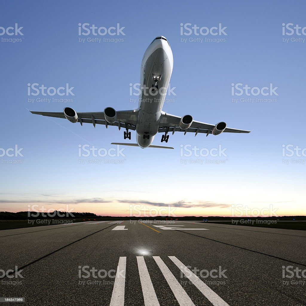 XXL jet airplane landing royalty-free stock photo
