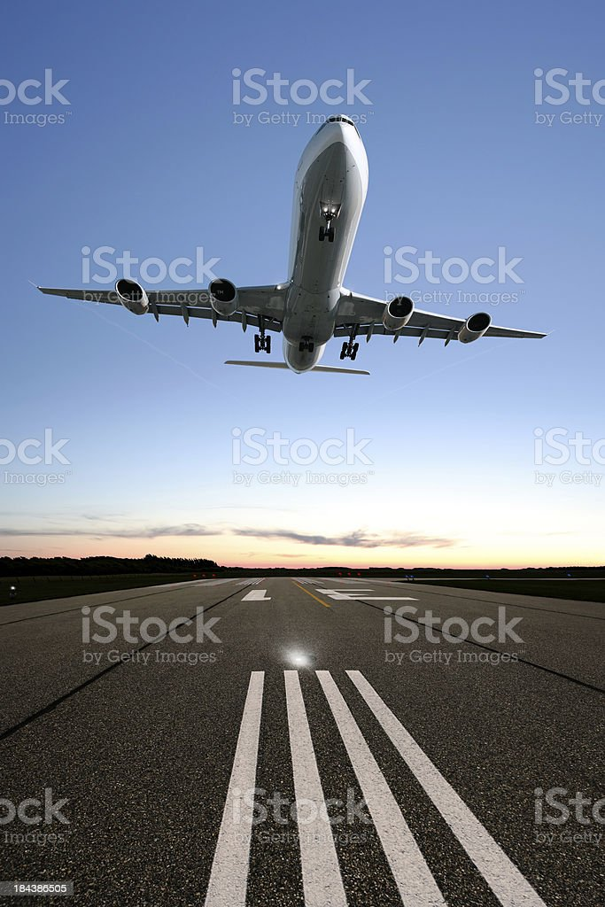 XXL jet airplane landing royalty-free stock photo