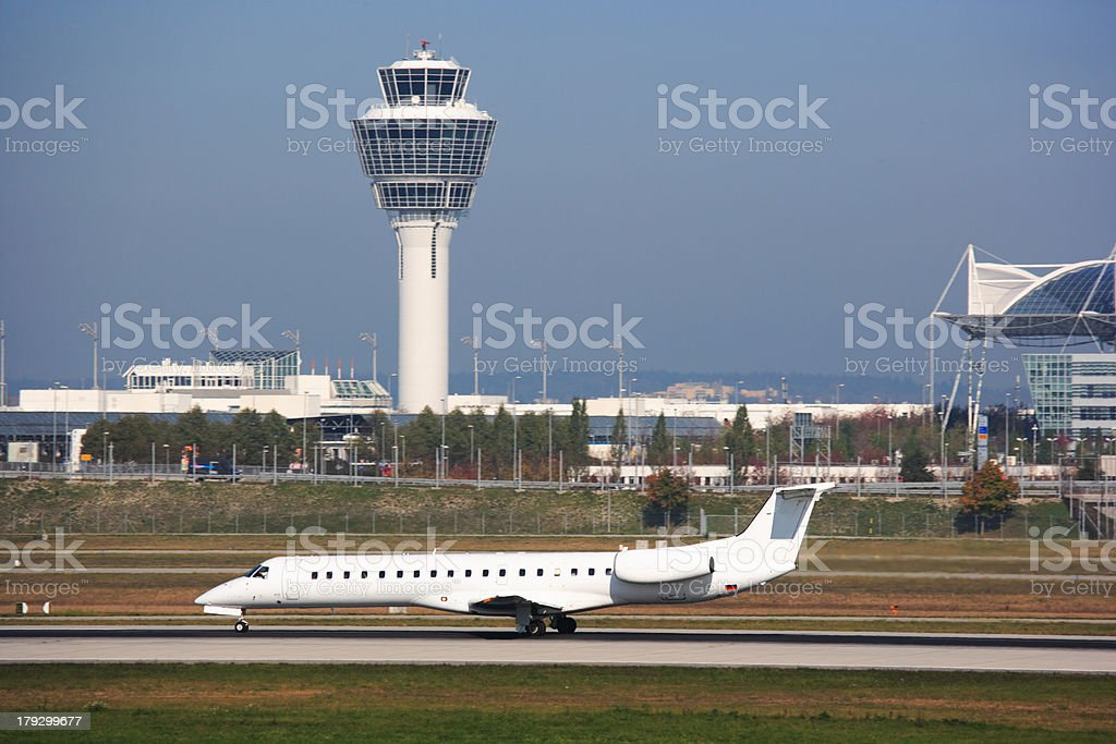 jet airplane on runway at Munich airport, Germany stock photo