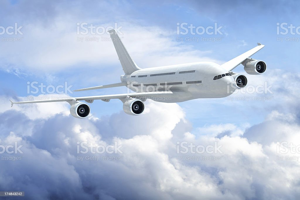 Jet Airplane over clouds royalty-free stock photo