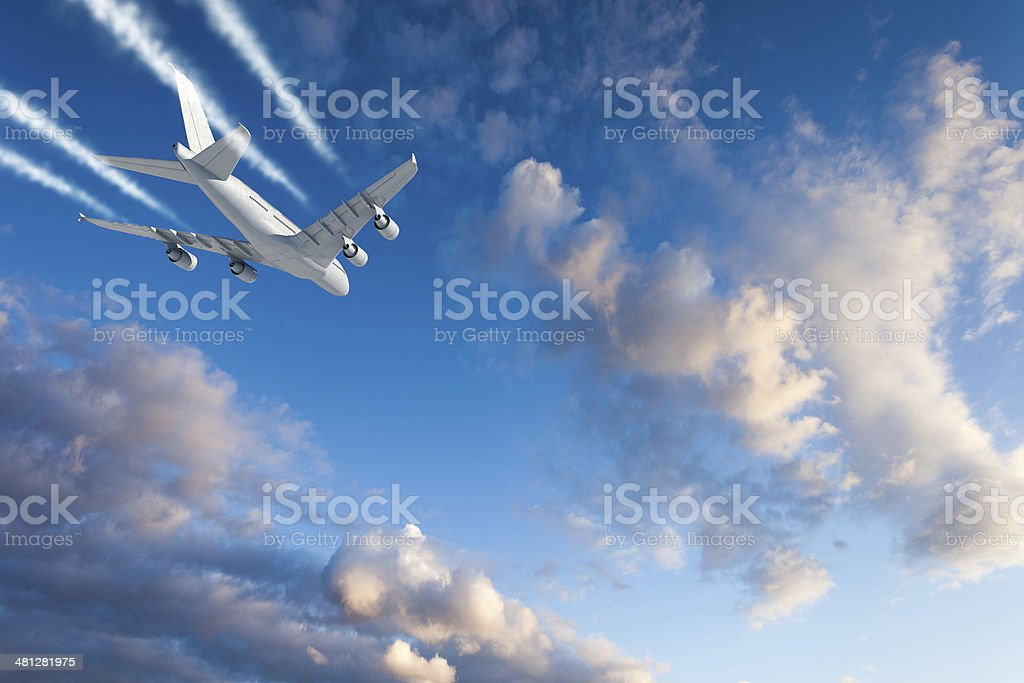 Jet Airplane over clouds stock photo