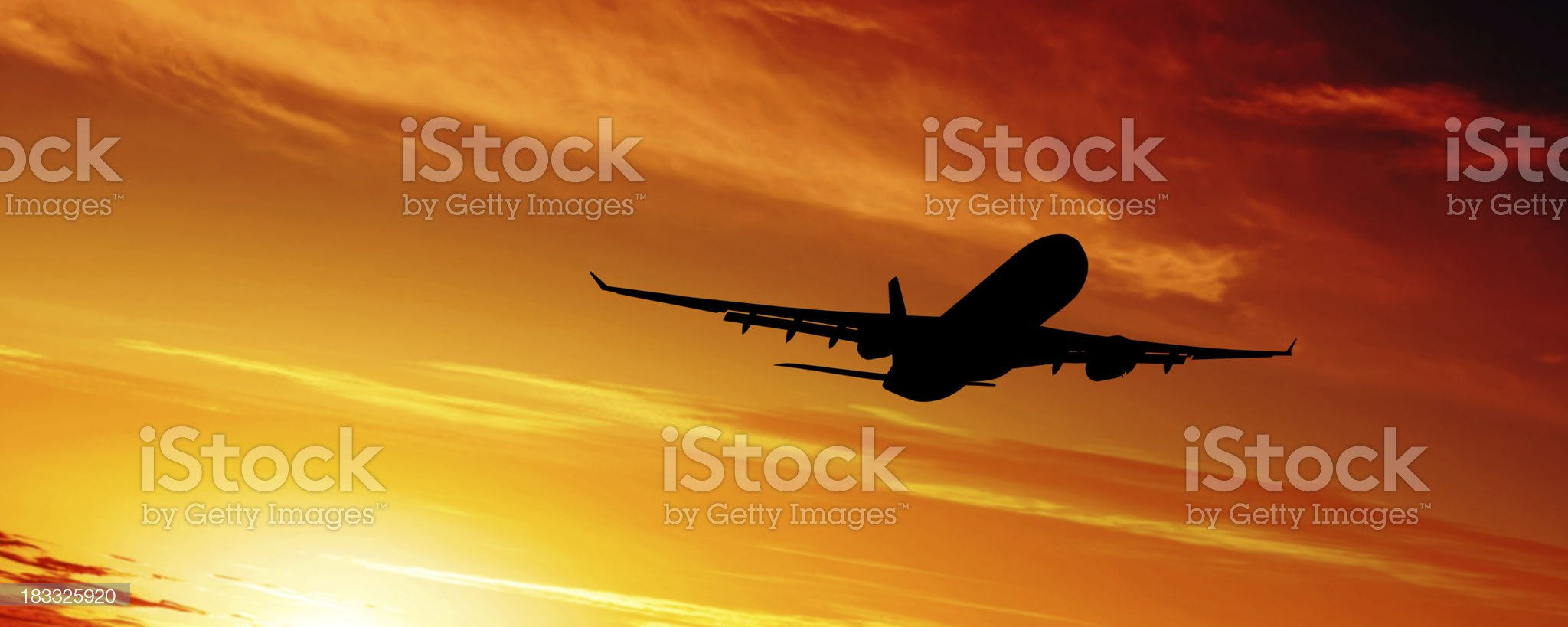 XL jet airplane silhouette royalty-free stock photo