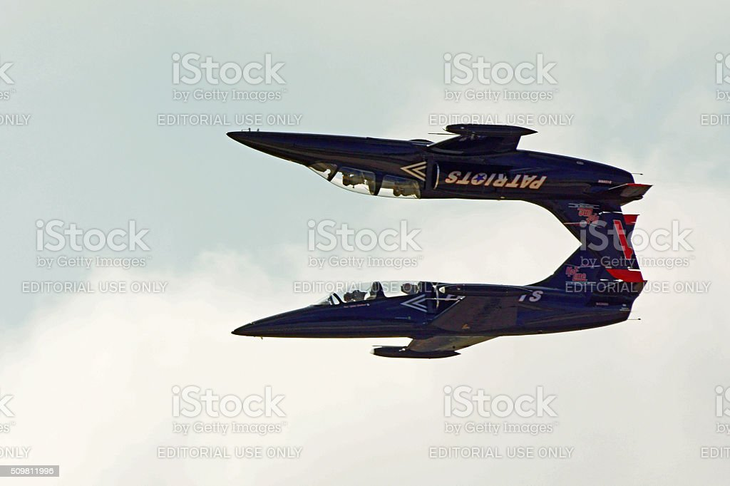 Jet airplanes performing at air show stock photo