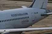 Jet asia airline park at Krabi airport