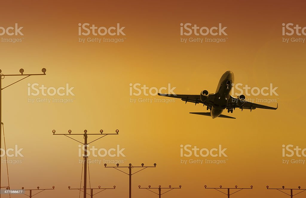 Jet at LAX airport Los Angeles royalty-free stock photo