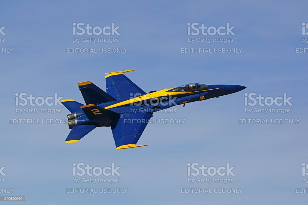 Jet Blue Angels fighter flying at Air Show stock photo