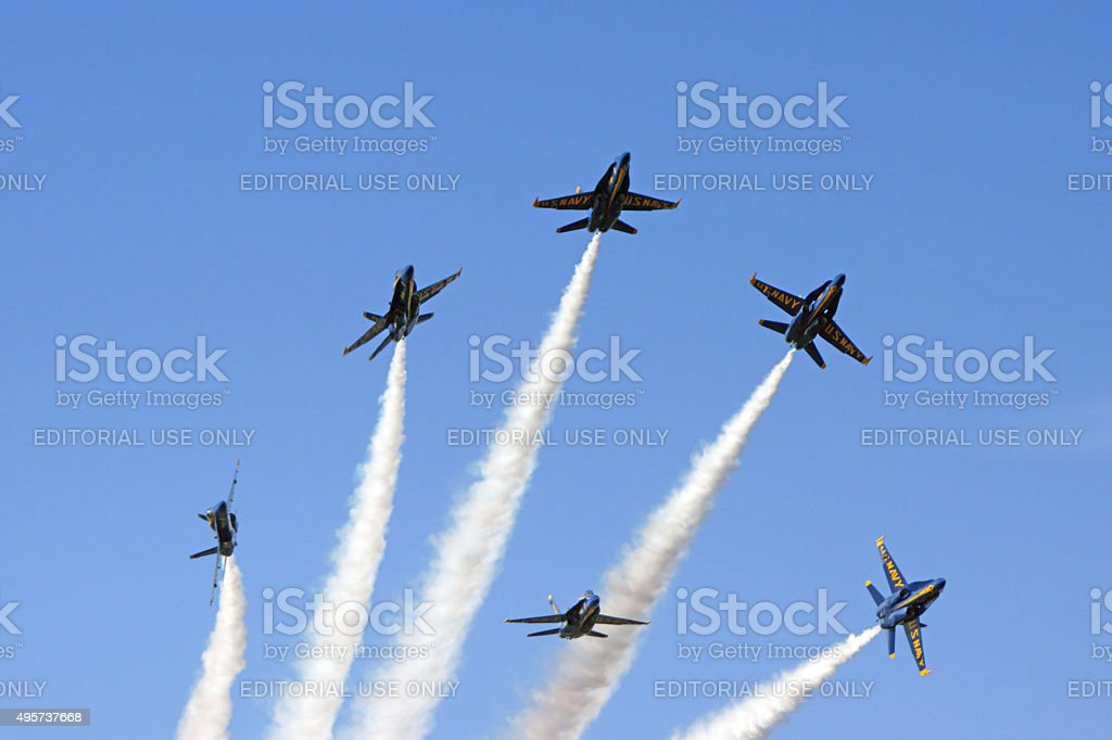 Jet Blue Angles Navy F-18 fighters stock photo
