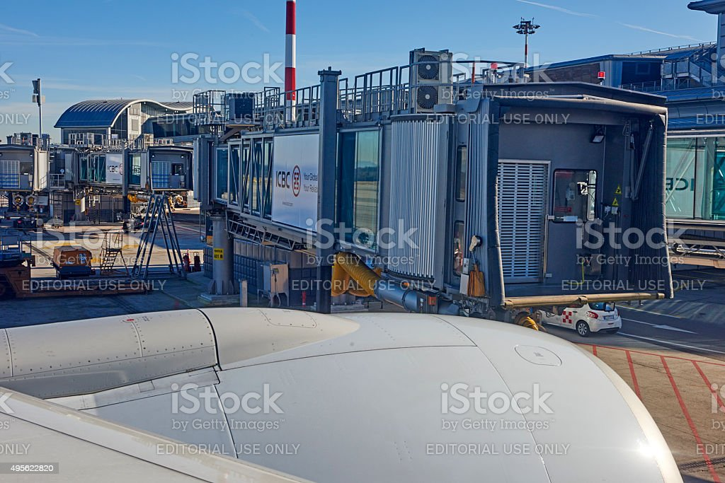 Jet Bridge at Malpensa Airport stock photo