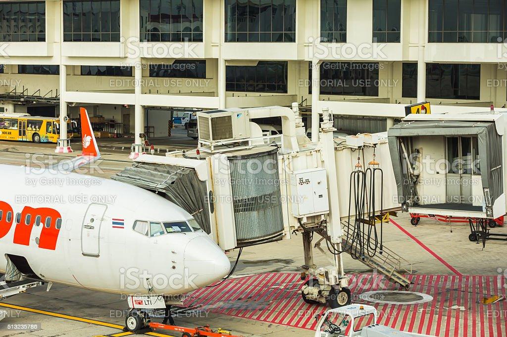 Jet bridge (or PBB) stock photo