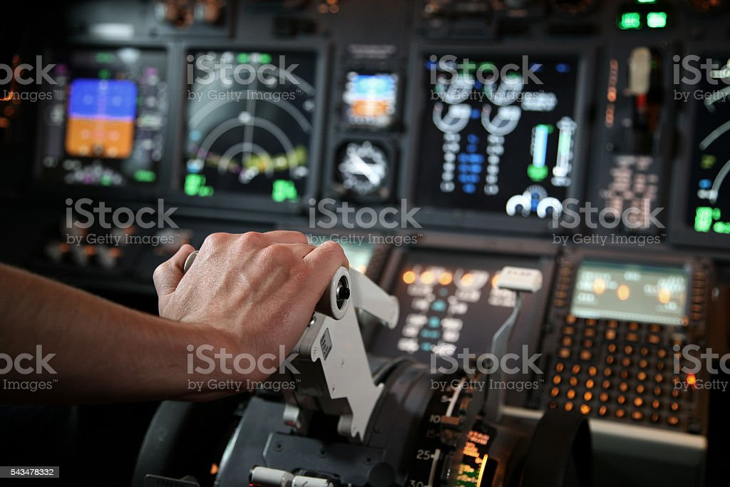 Jet Cockpit 737 NG Throttle stock photo