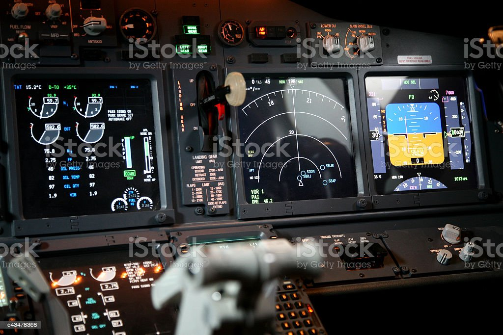Jet Cockpit Flight Instruments stock photo