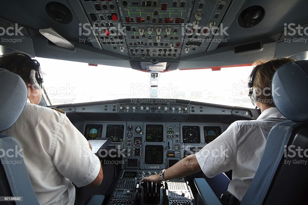 Jet cockpit stock photo