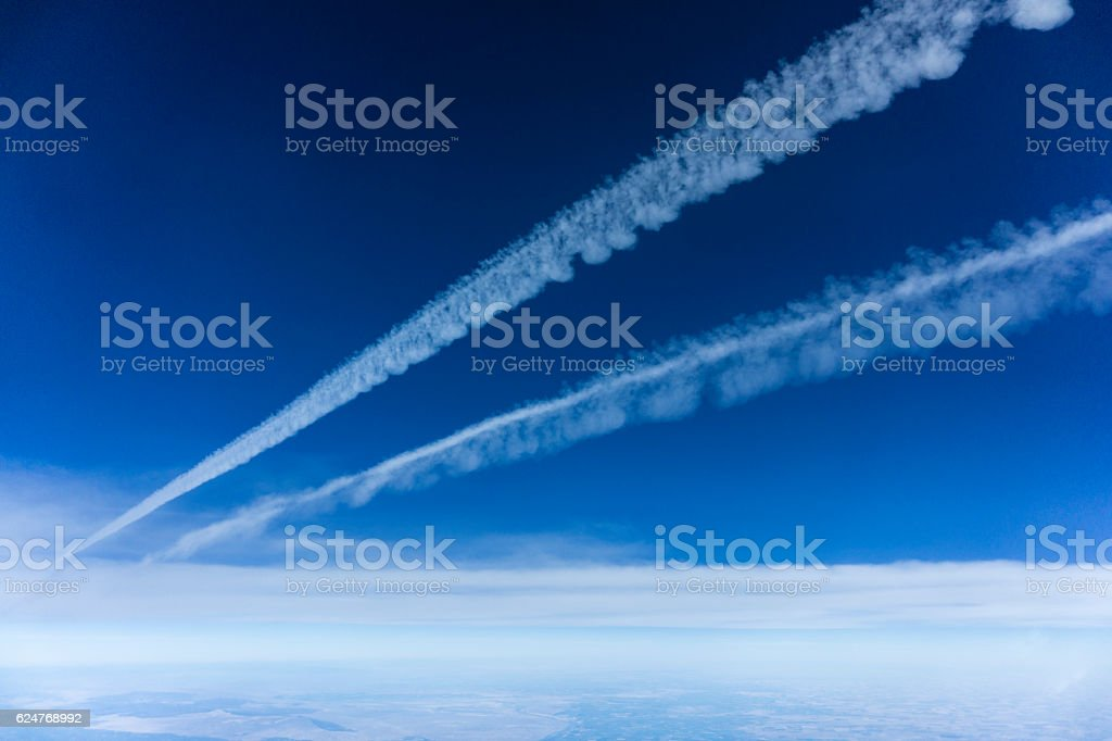 jet contrails stock photo