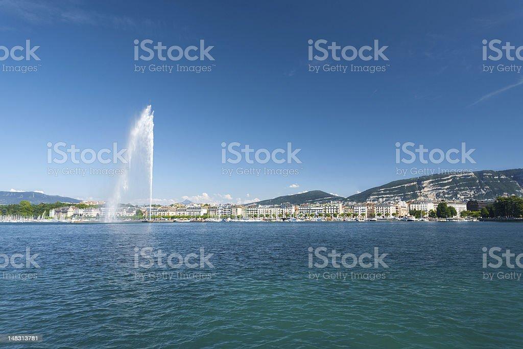 Jet D Eau Water Fountain Geneva Mountain stock photo