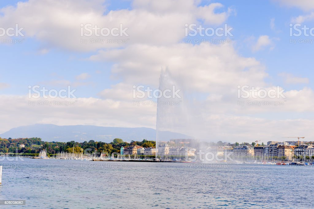 Jet d'Eau (Water Jet), a large fountain in Geneva, Switzerland. stock photo