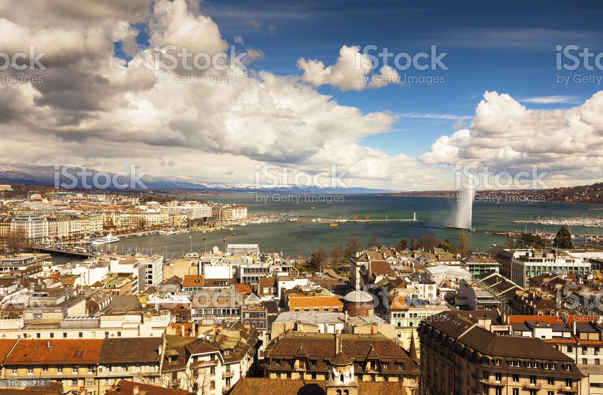 Jet D'eau and Geneva cityscape royalty-free stock photo