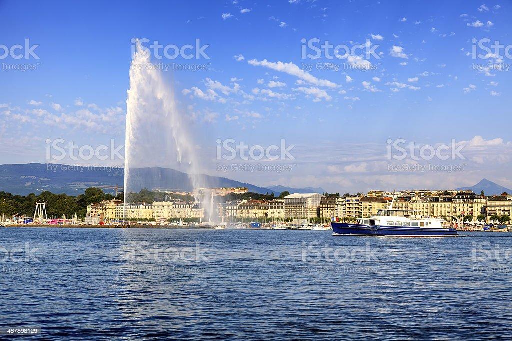 Jet d'eau fountain in Geneva stock photo