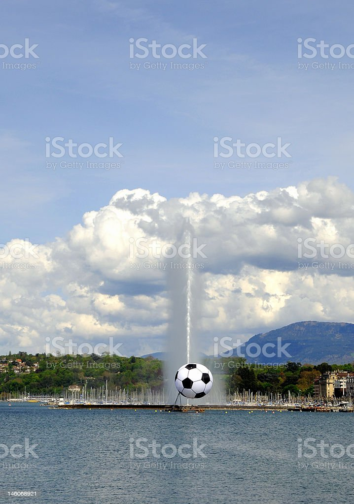 Jet d'Eau with soccer stock photo