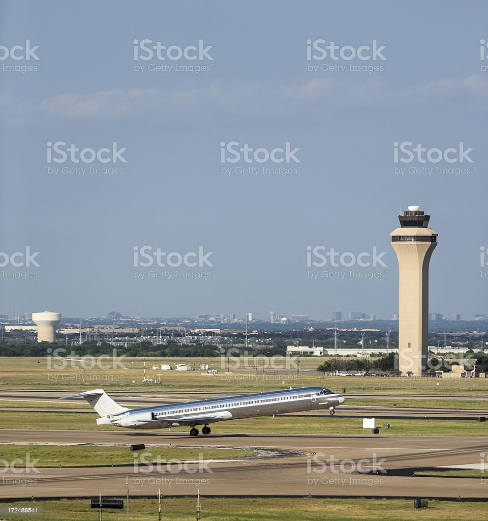 Jet during takeoff royalty-free stock photo