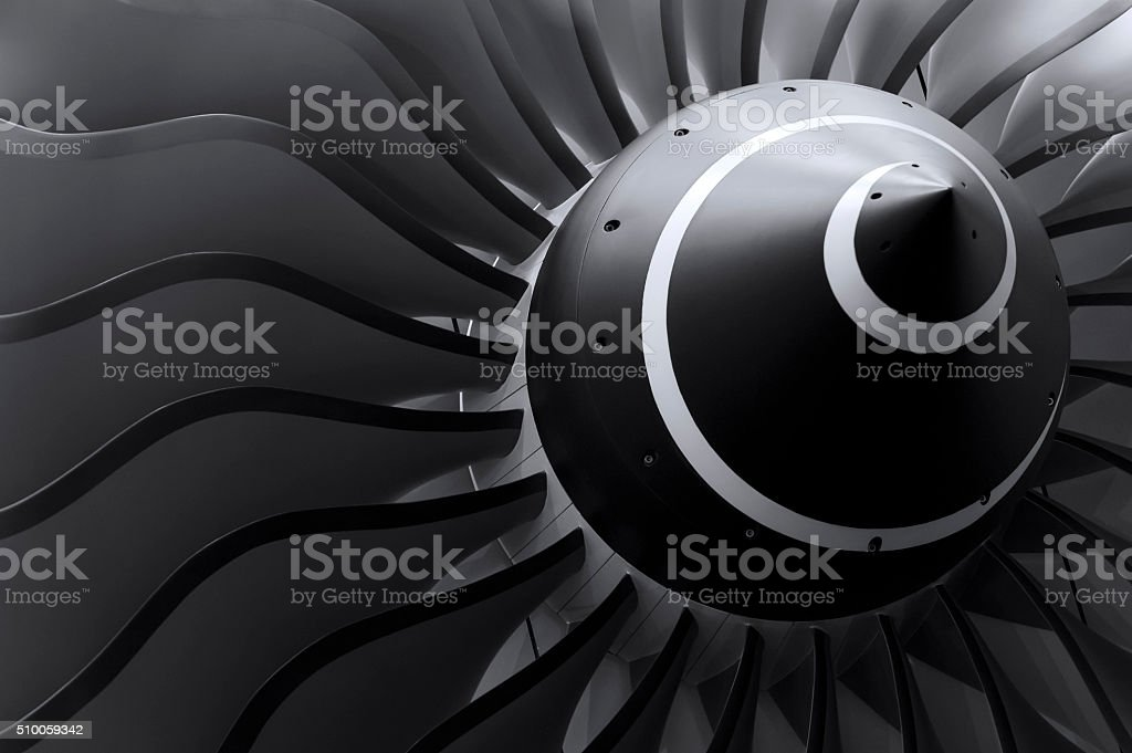 Jet engine blades stock photo