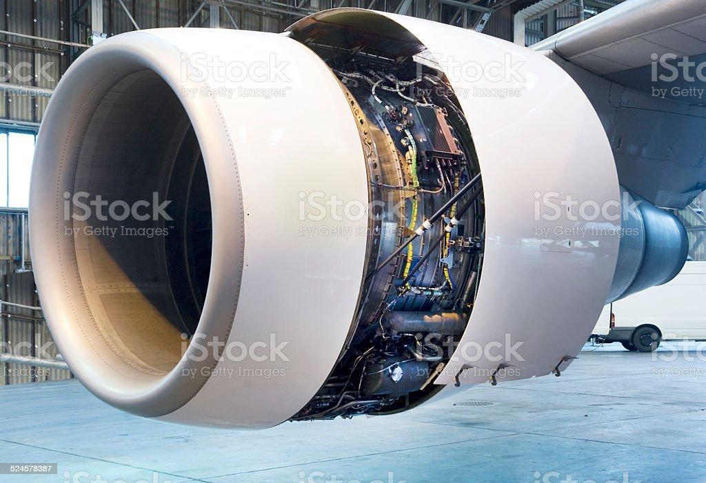 Jet engine close up stock photo