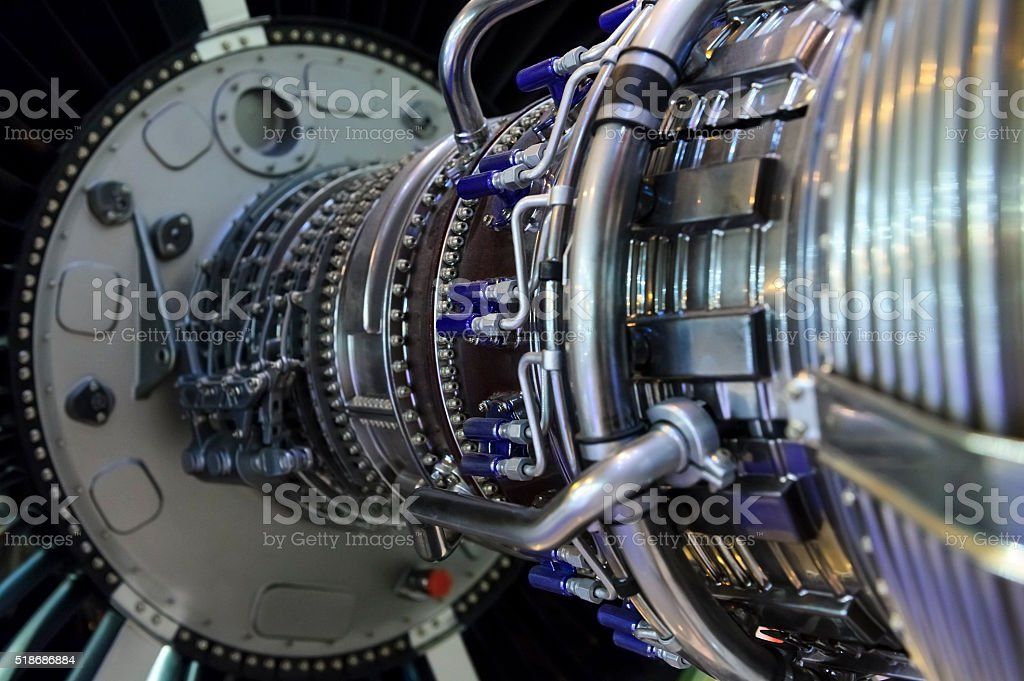 Jet engine detail stock photo
