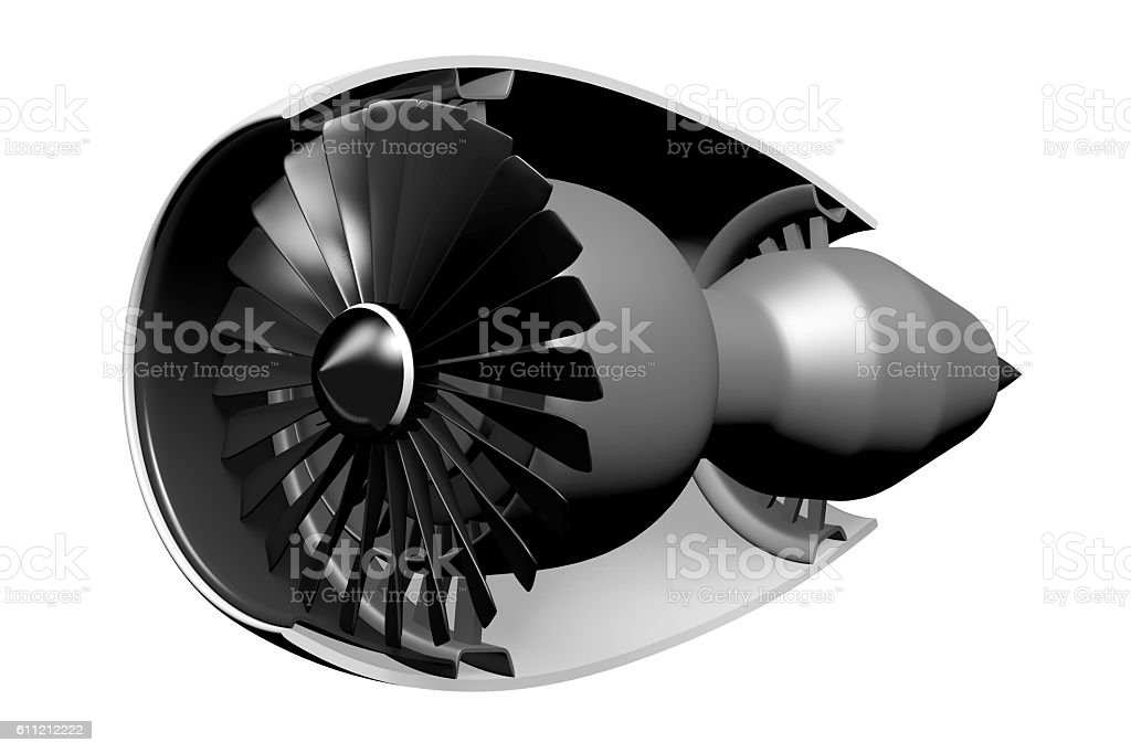 3D jet engine - front view/side view stock photo