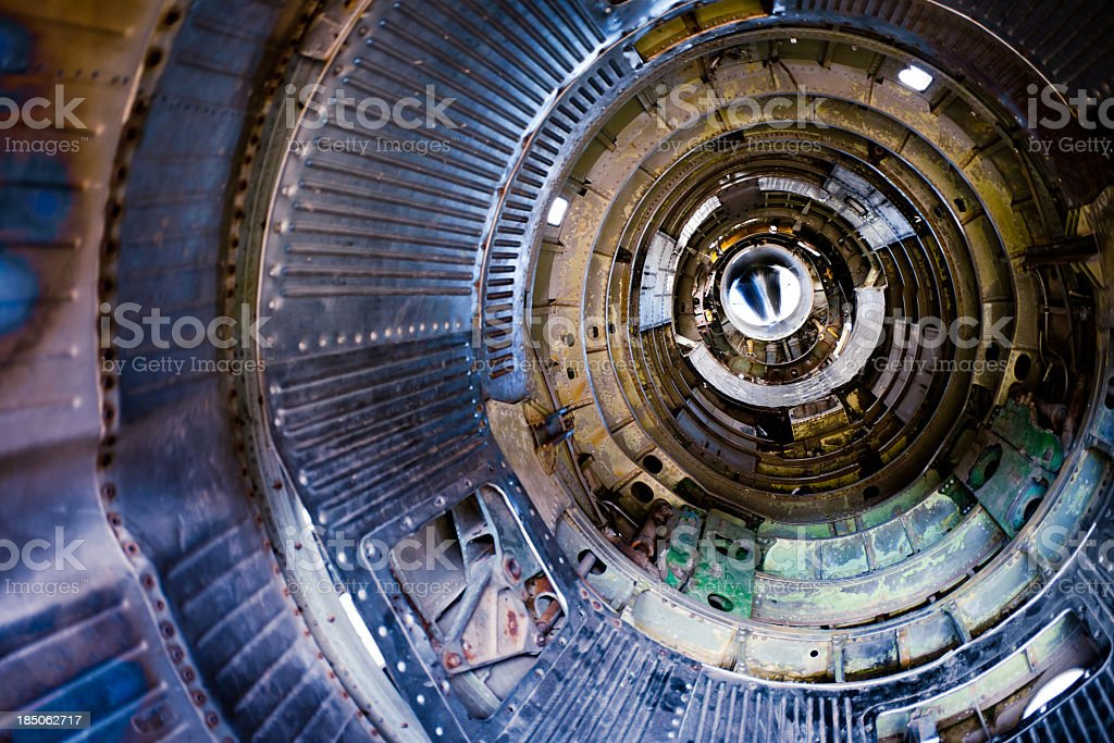 Jet engine inside. Rear view royalty-free stock photo