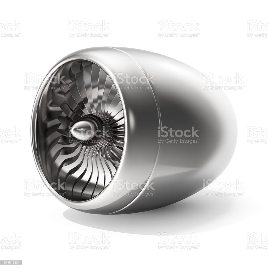 Jet engine isolated on white background. 3d rendering stock photo