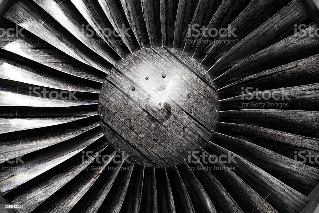 Jet engine made of wood stock photo