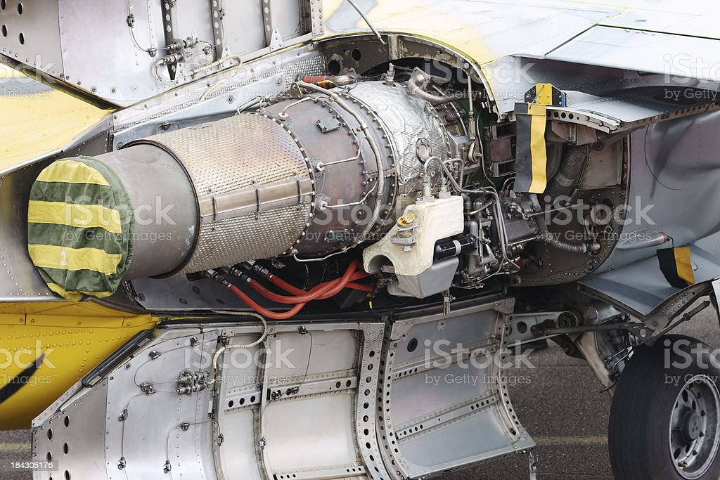 Jet engine on fighter aircraft stock photo