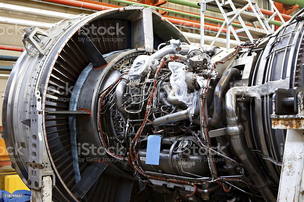 Jet engine on stand for overhaul stock photo