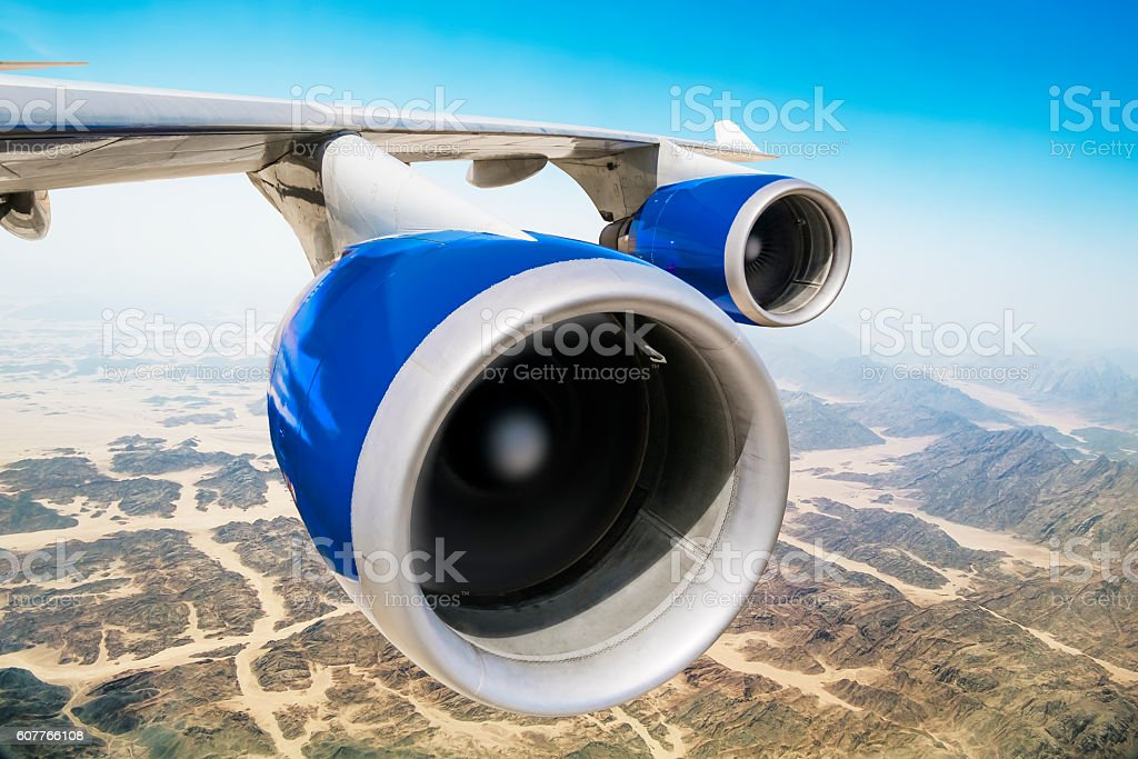 Jet engine on the wing of an aircraft stock photo