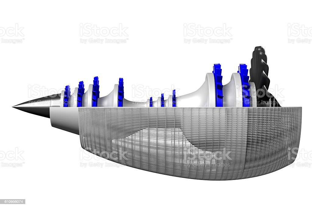 3D jet engine - side view stock photo
