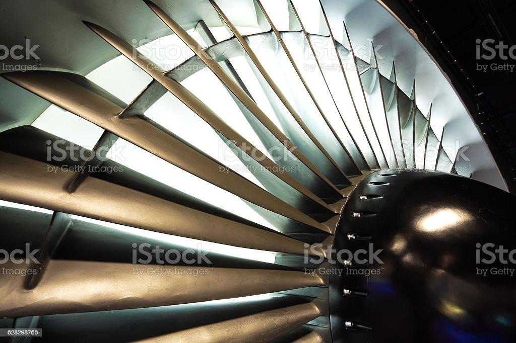 Jet engine turbine blade airplane of background stock photo